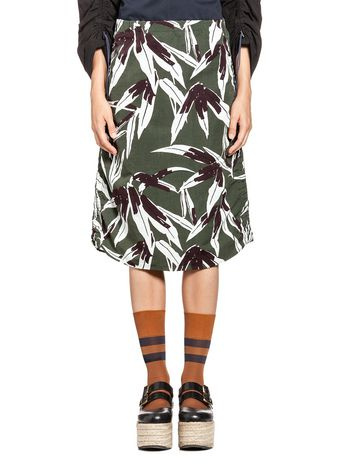 Marni Skirt in cotton and linen Swash print Woman