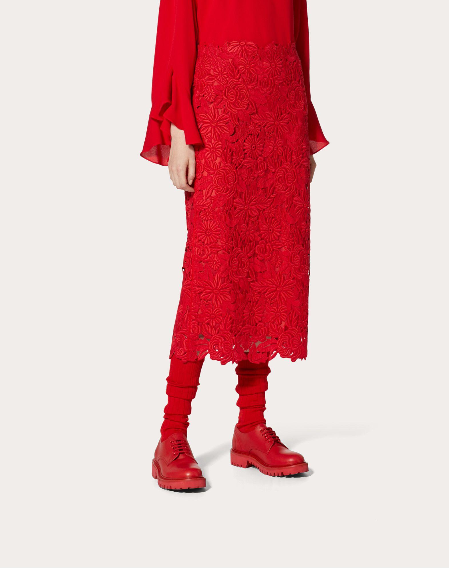 VALENTINO Straight Guipure Rebrodé Skirt Skirt D d