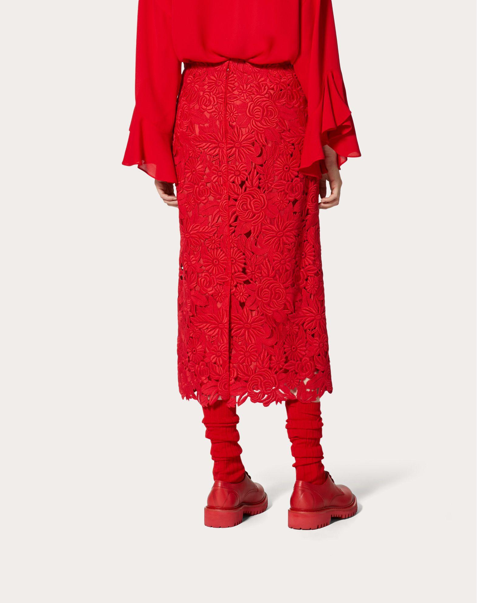 VALENTINO Straight Guipure Rebrodé Skirt Skirt D e
