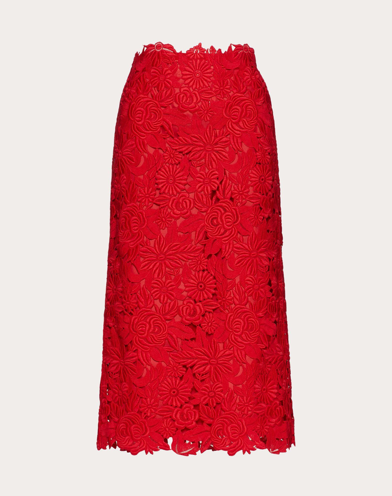 VALENTINO Straight Guipure Rebrodé Skirt Skirt D f