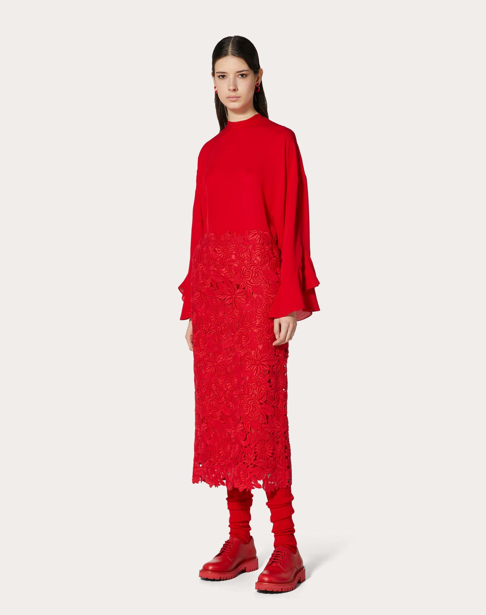 VALENTINO Straight Guipure Rebrodé Skirt Skirt D r