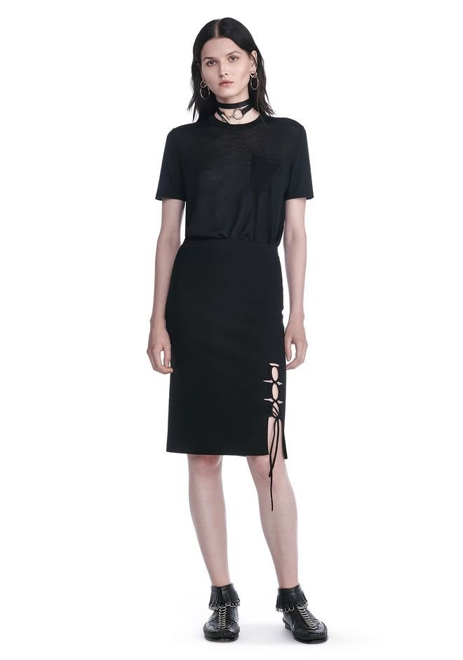 ALEXANDER WANG PENCIL SKIRT WITH SIDE SLIT LACING SKIRT Adult 12_n_f