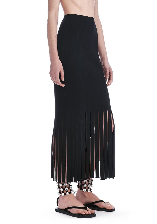 ALEXANDER WANG new-arrivals-ready-to-wear-woman FITTED SKIRT WITH FRINGED HEM
