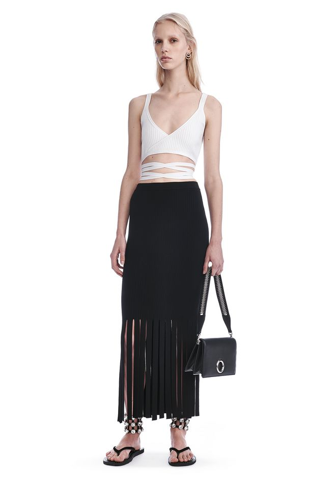 ALEXANDER WANG SKIRTS FITTED SKIRT WITH FRINGED HEM