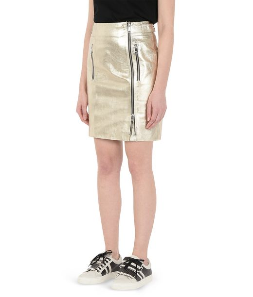 KARL LAGERFELD Gold Leather Skirt 12_f