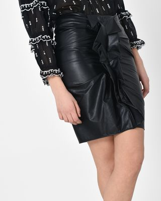 Zephi Faux leather ruched skirt
