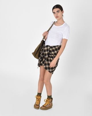 ISABEL MARANT ÉTOILE SHORT SKIRT D Placid Knotted effect draped checked skirt r