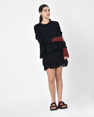 ISABEL MARANT ÉTOILE SHORT SKIRT Woman Yoni Textured cotton voile ruffle mini skirt with smocking r