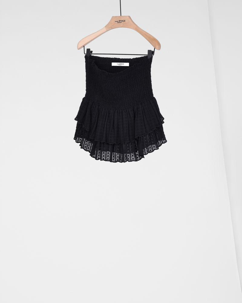 Yoni Textured cotton voile ruffle mini skirt with smocking ISABEL MARANT ÉTOILE