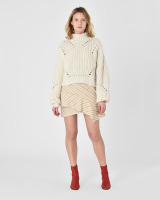 Kimura Asymmetric ruffle mini skirt
