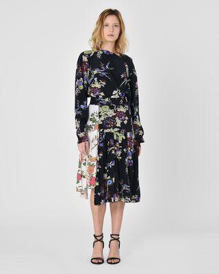 Inaya Asymmetric silk crepe de chine maxi skirt in floral print