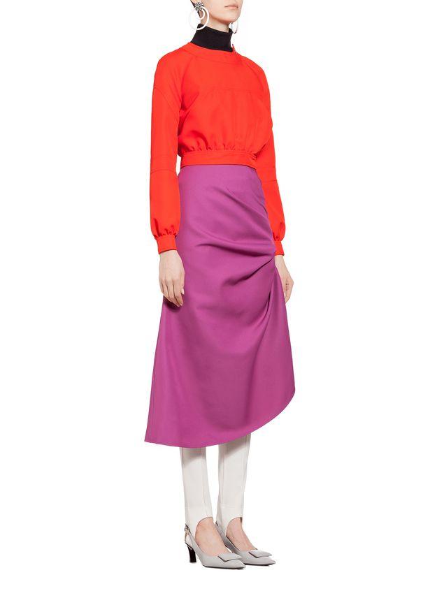 Marni Puckered skirt in techno gabardine Woman - 5