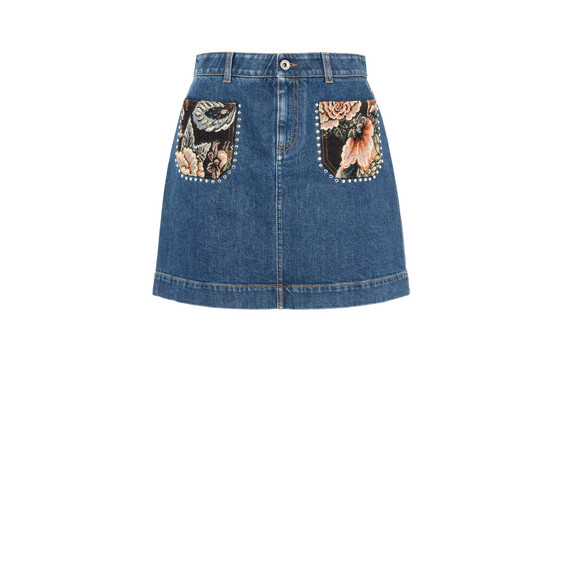 Denim Patch Pocket Tapestry Skirt