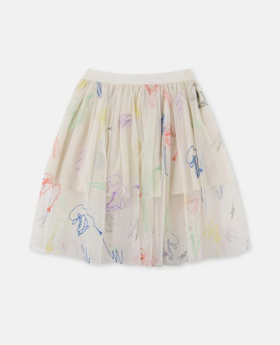 Darci White Scribble and Skate Skirt