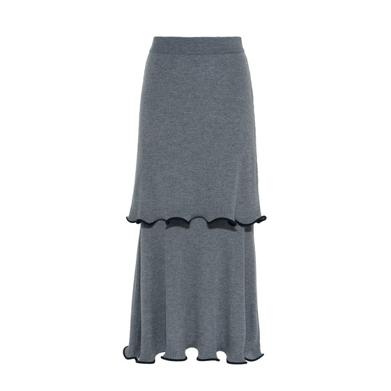 Gray Ruffled Midi Skirt