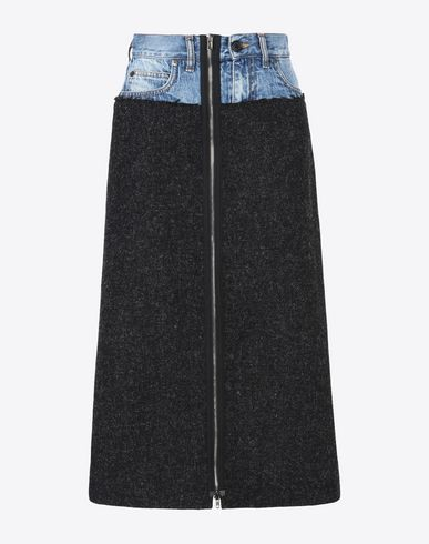 MAISON MARGIELA 1 3/4 length skirt D Fused tweed-denim skirt f