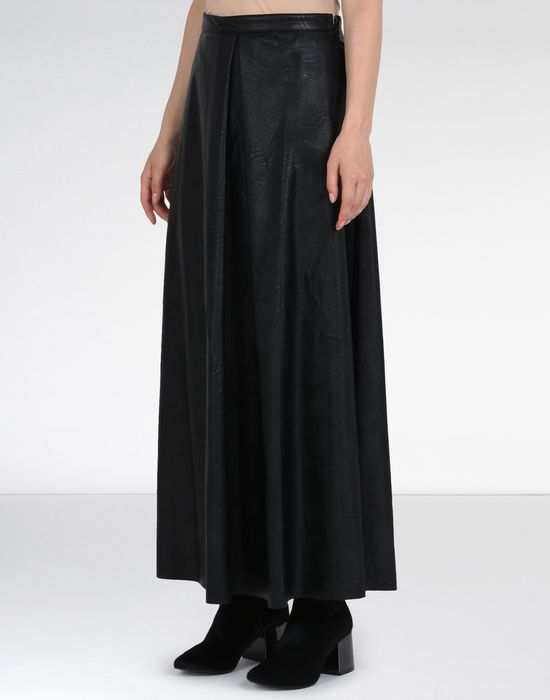 Maison Margiela Ankle Length Faux Leather Skirt Women |