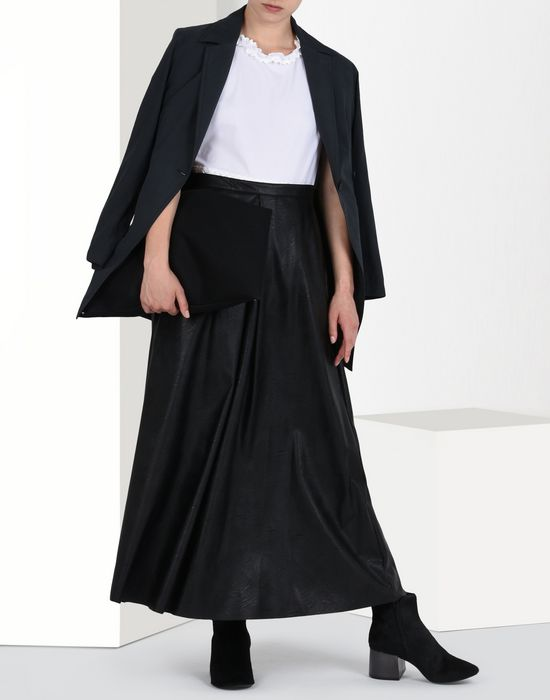 Maison Margiela Ankle Length Faux Leather Skirt Women | Online ...