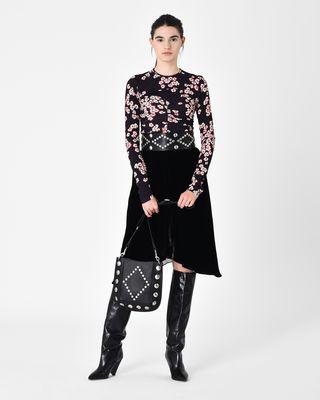 TURSANNE asymmetric velvet midi skirt