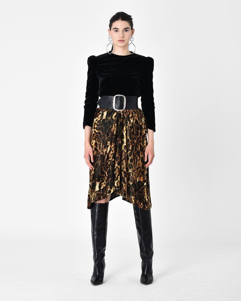 5fa760a228b9 TURSANNE leopard print velvet midi skirt
