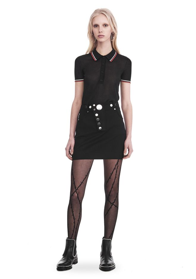 ALEXANDER WANG SKIRTS HIGH WAISTED MINI SKIRT WITH MULTI SNAP DETAIL