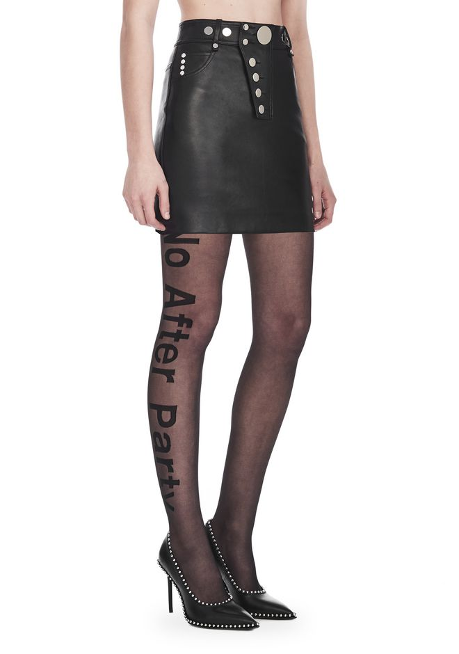 ALEXANDER WANG JUPES Femme HIGH WAISTED LEATHER MINI SKIRT WITH MULTI SNAP DETAIL