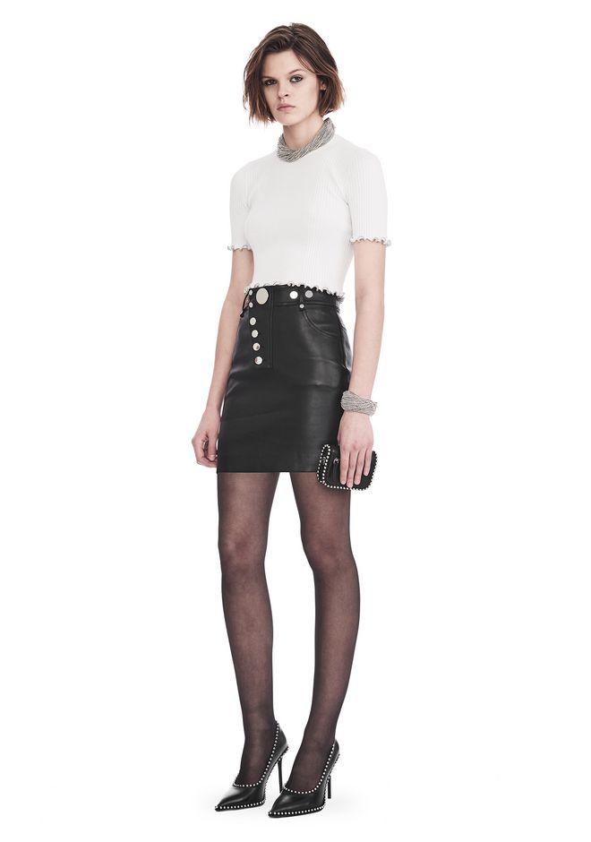 ALEXANDER WANG SKIRTS HIGH WAISTED LEATHER MINI SKIRT WITH MULTI SNAP DETAIL