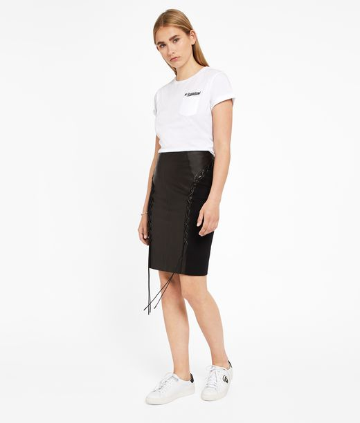 KARL LAGERFELD Leather Skirt W/ Lacing 12_f