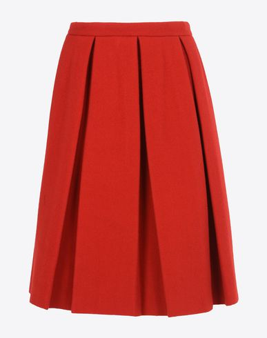 MAISON MARGIELA Pleated A-line wool skirt Knee length skirt D f