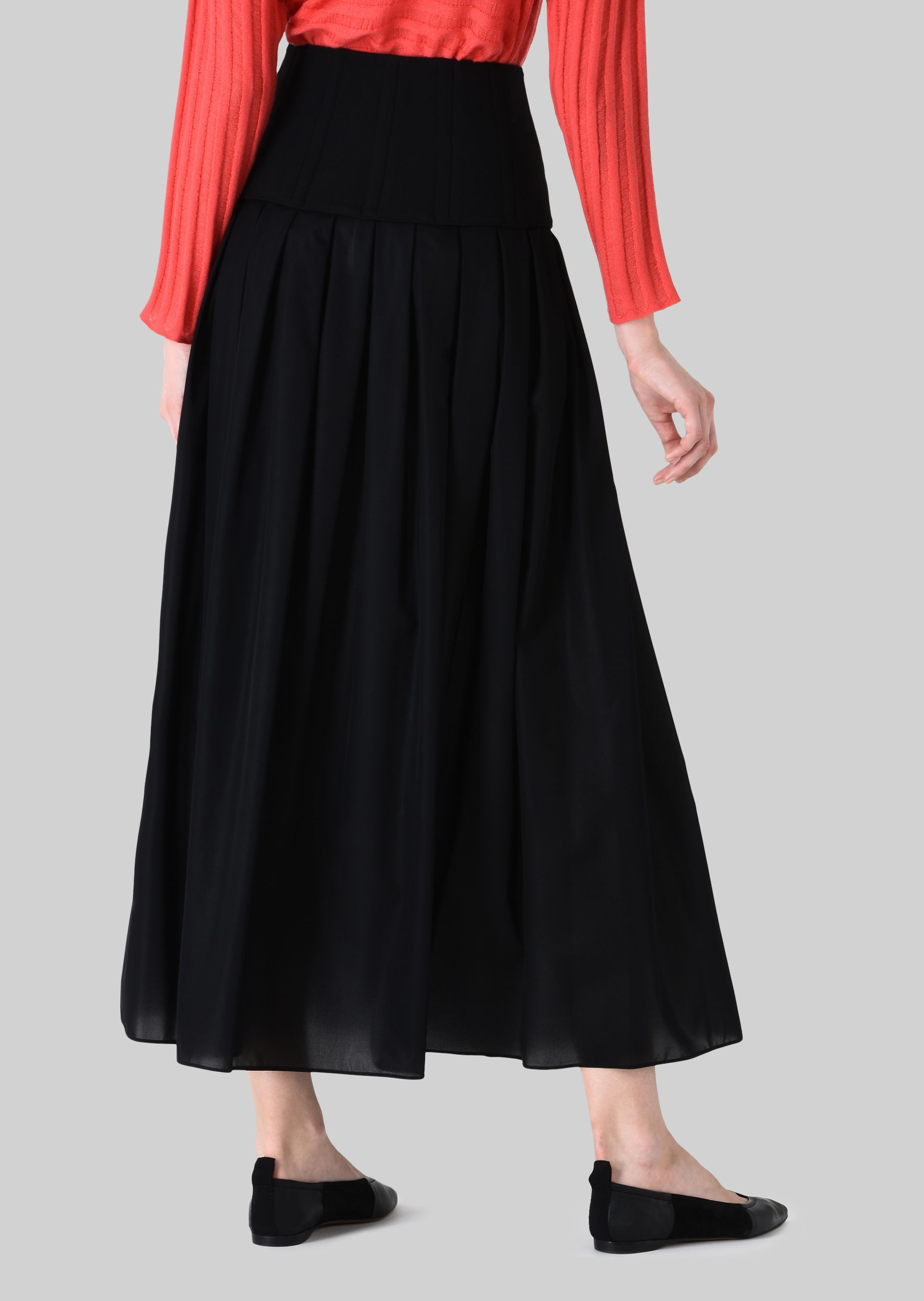 GIORGIO ARMANI LONG SKIRT IN TECHNICAL CRÊPE DE CHINE. Skirt D e