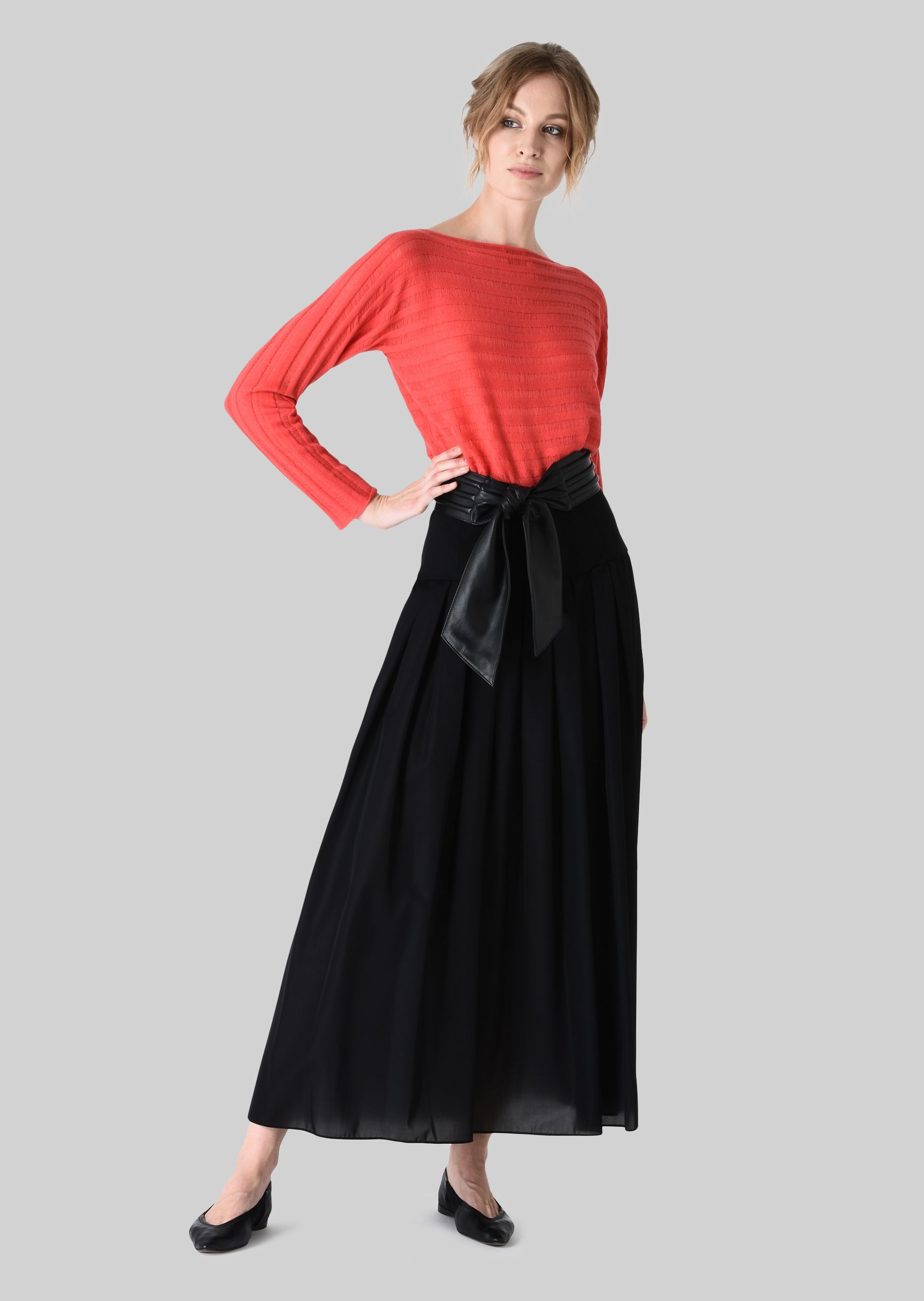 GIORGIO ARMANI LONG SKIRT IN TECHNICAL CRÊPE DE CHINE. Skirt D f