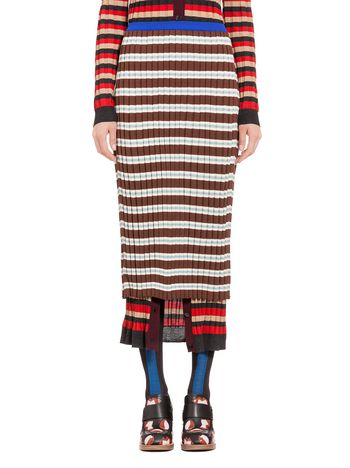 Marni Skirt in striped cotton Woman