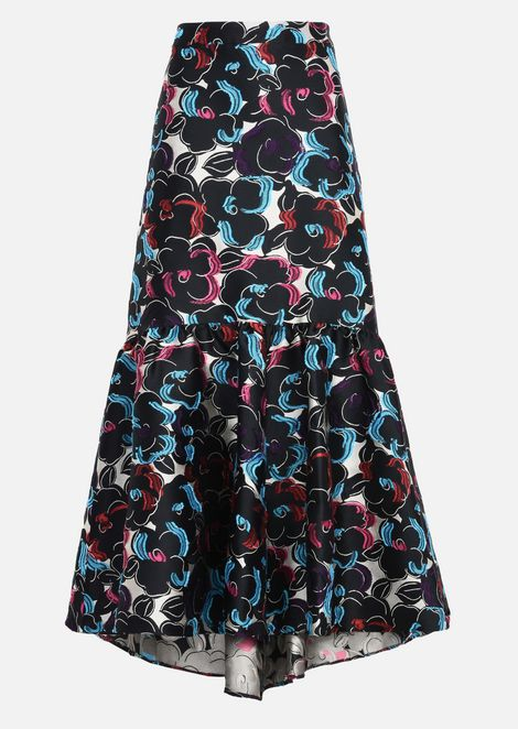 LONG SKIRT IN JACQUARD WITH FLORAL DESIGN