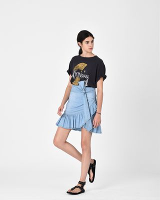 ISABEL MARANT ÉTOILE SHORT SKIRT Woman LINDY chambray skirt r