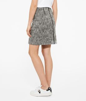 KARL LAGERFELD COATED BOUCLÉ SKIRT W/ ZIPS