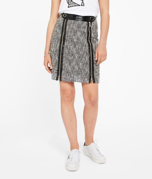 KARL LAGERFELD Coated Bouclé Skirt W/ Zippers 12_f