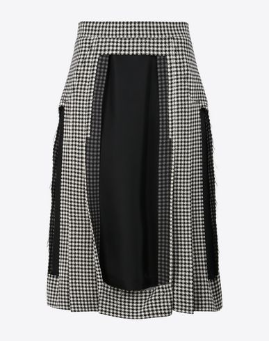 MAISON MARGIELA Décortiqué check wool skirt 3/4 length skirt D f