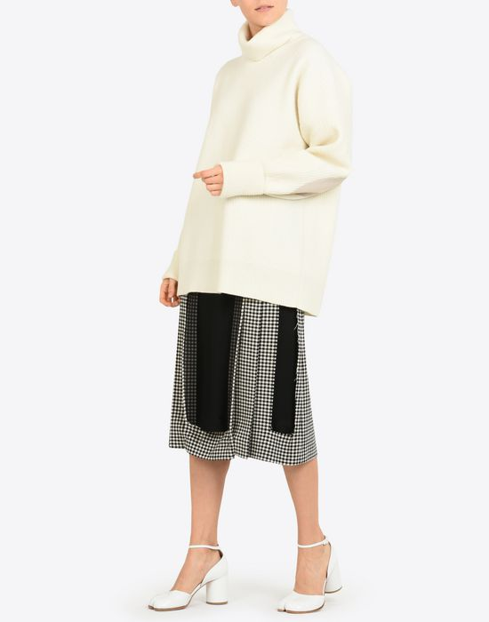 MAISON MARGIELA Décortiqué check wool skirt 3/4 length skirt Woman d