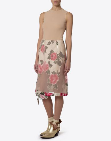 MAISON MARGIELA Knee length skirt Woman Rose print cut-out skirt f