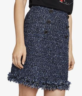 KARL LAGERFELD BOUCLÉ SKIRT WITH FRINGES