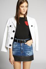 DSQUARED2 Contrasted Leather Denim Skirt Denim skirt Woman