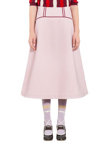 Marni Straight skirt in wool and cotton crepe Woman