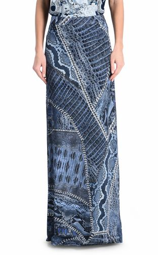JUST CAVALLI Long skirt Woman Long Ikat Butterfly skirt f
