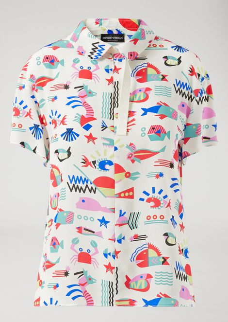 FISH-PATTERN SILK BLOUSE