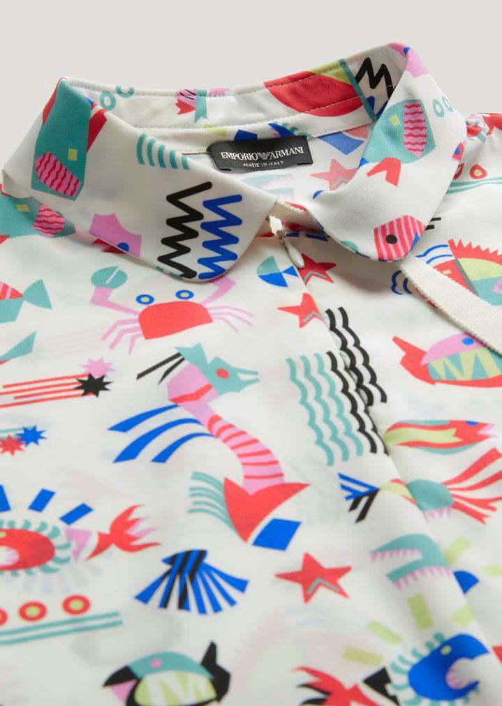 EMPORIO ARMANI FISH-PATTERN SILK BLOUSE Casual Shirt Woman b