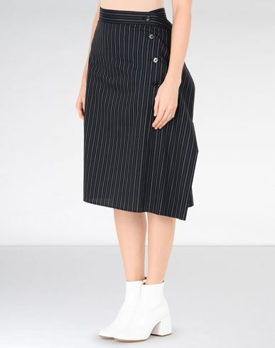 MM6 MAISON MARGIELA Knee length skirt D Pinstripe ruffle skirt f
