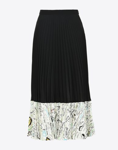 MAISON MARGIELA 3/4 length skirt D Pleated skirt with contrasting panel f
