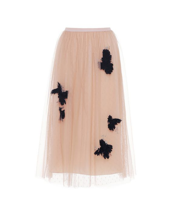 aa5949864c ... REDValentino Bird embroidered point d'esprit tulle skirt ...