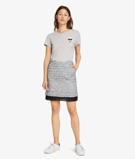 KARL LAGERFELD A-Line Bouclé Skirt 12_f