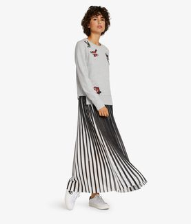 KARL LAGERFELD PLEATED GRAPHIC MAXI SKIRT